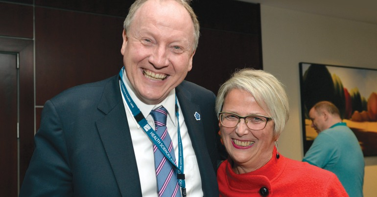 CUPE BC President Paul Faoro, and the B.C. minister of Mental Health and Addictions, Judy Darcy.