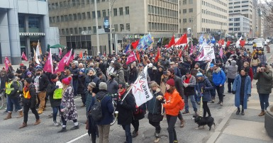 Hundreds of CUPE 3903 members and their supporters assembled in front of the Provincial Ministry of Labour's offices on University Avenue this afternoon for a raucous rally, marching north to Queen's Park.