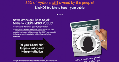 Keep Hydro Public campaign website