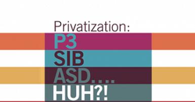 Text on striped background. Text says Privatization: P3, SIB, ASD….huh?!