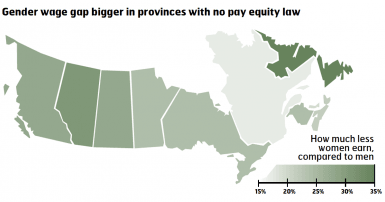 Gender gap bigger in provinces with no pay equity law