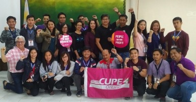 CUPE meeting with precarious workers and members of COURAGE to discuss a collective strategy to fight back against contactualization (the overreliance on contract workers in the public sector).