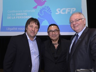 Charles Fleury, Romeo Saganash and Paul Moist at the CUPE Human Rights Conference 2015
