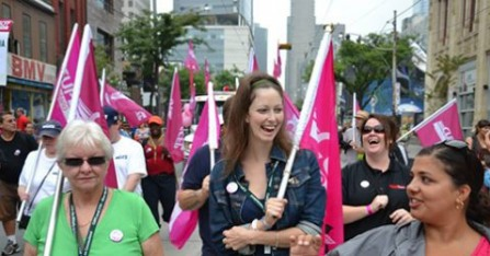 CUPE members march in Labour Day parade