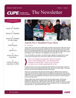 newsletter templates canadian union of public employees