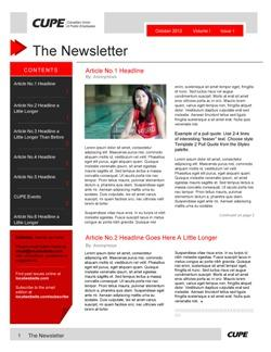 Newsletter templates canadian union of public employees for Health and wellness newsletter template