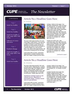 Newsletter templates canadian union of public employees template 3 4 pages pronofoot35fo Images