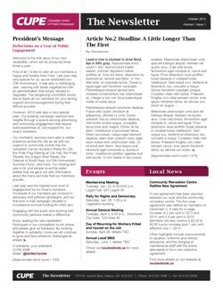 Newsletter Templates Canadian Union Of Public Employees - 1 page newsletter templates