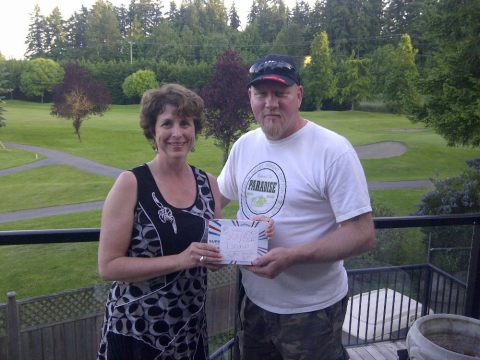CUPE BC RVP Michelle Waite and 358 President Ron Salvati get ready to donate $500 to striking Naramata workers.