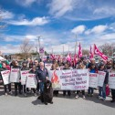 Group of people holding holding CUPE signs and flags, with a black Newfoundland do in the centre.