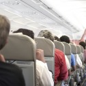 Passengers seated on an airplane