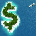 Yacht in wide open water approaching a dollar sign shaped island